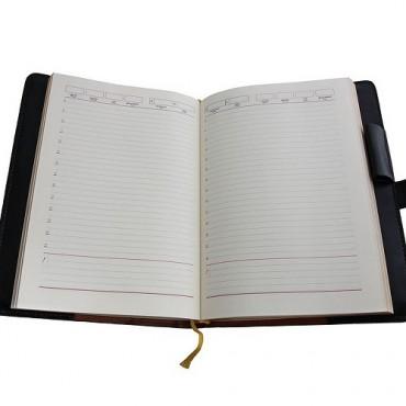 Кожаный ежедневник Георгий Победоносец большой Черный