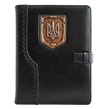 Кожаный ежедневник Герб Украины Черный